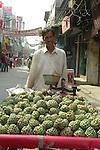 Street vendor in the Paharganj district of New Delhi, India.