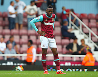 Dejected Enner Valencia of West Ham United   during the Barclays Premier League match between West Ham United and Swansea City  played at Boleyn Ground , London on 7th May 2016