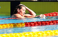 Trofeo Settecolli di nuoto al Foro Italico, Roma, 13 giugno 2013.<br /> Camille Muffat, of France, reacts after winning the women's 400 meters freestyle at the Sevenhills swimming trophy in Rome, 13 June 2013.<br /> UPDATE IMAGES PRESS/Isabella Bonotto