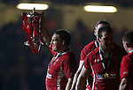 Wales captain Gethin Jenkins holds aloft the 6 Nations trophy after victory over England..2013 RBS 6 Nations Championship.Wales v England.Millennium Stadium.16.03.13.Credit: Steve Pope- Sportingwales