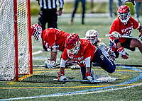 1 May 2021: Stony Brook University Seawolves Goalkeeper Anthony Palma, a Junior from East Islip, NY, gives up the game winning goal to the University of Vermont Catamounts with less than a second to play at Virtue Field in Burlington, Vermont. The Cats edged out the Seawolves 14-13 in their America East Men's Lacrosse matchup. Mandatory Credit: Ed Wolfstein Photo *** RAW (NEF) Image File Available ***