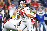 Indianapolis, IN - DEC 7, 2019: Ohio State Buckeyes quarterback Justin Fields (1) drops back to pass during Big Ten Championship game between Wisconsin and Ohio State at Lucas Oil Stadium in Indianapolis, IN. Ohio State came back from a 21-7 deficit at halftime to beat Wisconsin 34-21 to win its third straight Big Ten Championship. (Photo by Phillip Peters/Media Images International)