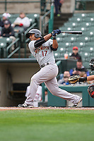 Scranton Wilkes-Barre Railriders second baseman Donovan Solano (17) bats against the Rochester Red Wings on May 1, 2016 at Frontier Field in Rochester, New York. Red Wings won 1-0.  (Christopher Cecere/Four Seam Images)