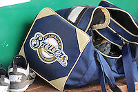 A Milwaukee Brewers equipment bag sits on the bench in the visitors dugout prior to the Pioneer League game between the Helena Brewers and the Ogden Raptors at Lindquist Field in Ogden Utah on July 20, 2013.  (Stephen Smith/Four Seam Images)