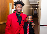 "WATERBURY,  CT-011820JS27- Waterbury NAACP Youth Council president Amari Brantley, 17, and Jabari Hendricks, 9, the youngest member of the Waterbury NAACP Youth Council, at the ""Men with a Purpose"" luncheon, a Dr. Martin Luther King, Jr. event celebrating men, at Grace Baptist Church in Waterbury. The event was sponsored by the Waterbury NAACP Youth Council.<br /> Jim Shannon Republican-American"