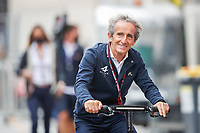 22nd May 2021; Principality of Monaco; F1 Grand Prix of Monaco, qualifying sessions;  PROST Alain (fra), Non Executive Director of Alpine F1 Team arrives on his electric scooter