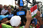 Sky Procycling riders Davide Appollonio (ITA) and Michael Barry (CAN) sign autographs for local school children before the start of the 3rd Stage of the 2012 Tour of Qatar running 146.5km from Dukhan Souq, Dukhan to Al Gharafa, Qatar. 7th February 2012.<br /> (Photo Eoin Clarke/Newsfile)