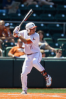 Texas Longhorns first baseman Alex Silver #11 at bat against the Oklahoma Sooners in the NCAA baseball game on April 6, 2013 at UFCU DischFalk Field in Austin, Texas. The Longhorns defeated the rival Sooners 1-0. (Andrew Woolley/Four Seam Images).