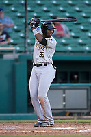 Salt Lake Bees designated hitter Jabari Blash (36) at bat during a Pacific Coast League game against the Fresno Grizzlies at Chukchansi Park on May 14, 2018 in Fresno, California. Fresno defeated Salt Lake 4-3. (Zachary Lucy/Four Seam Images)