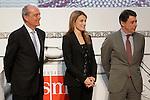 Princess Letizia of Spain attends the 'El Barco de Vapor' literature awards in the presence of the President of Madrid Region Jose Ignacio Gonzalez (r) and the Chairman of the Editorial SM Javier Cortes.April 9, 2013.(ALTERPHOTOS/Acero)