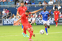 KANSAS CITY, KS - JULY 15: Jonathan Osorio #21 of Canada shoots on goal during a game between Canada and Haiti at Children's Mercy Park on July 15, 2021 in Kansas City, Kansas.