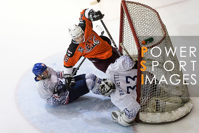 Simon Forgeson of HK Tigers (C) battle in the goal mouth with Rodolphe Brunetti of Flying French (R) during the Mega Ice Hockey 5s match between Hong Kong Tigers and Flying French on May 02, 2018 in Hong Kong, Hong Kong. Photo by Marcio Rodrigo Machado / Power Sport Images