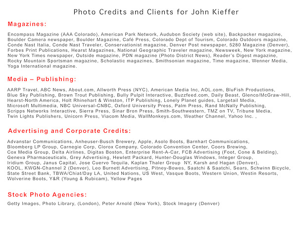 Selected photo credits and clients of John Kieffer.