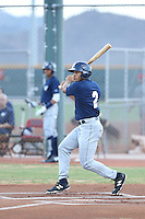 Trent Clark (2) of the AZL Brewers bats during a game against the AZL Reds at the Cincinnati Reds Spring Training Complex on July 5, 2015 in Goodyear, Arizona. Reds defeated Brewers, 9-4. (Larry Goren/Four Seam Images)