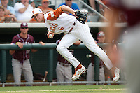 Texas Longhorns third baseman Erich Weiss #6 makes a play during the NCAA baseball game against the Texas A&M Aggies on April 28, 2012 at UFCU Disch-Falk Field in Austin, Texas. The Aggies beat the Longhorns 12-4. (Andrew Woolley / Four Seam Images)..