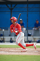 Philadelphia Phillies Jonathan Guzman (8) follows through on a swing during an Instructional League game against the Toronto Blue Jays on October 7, 2017 at the Englebert Complex in Dunedin, Florida.  (Mike Janes/Four Seam Images)