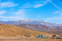 In the Mojave Desert, the trucks take the I40. Snow on the mountains reminds us that winter is in full swing.