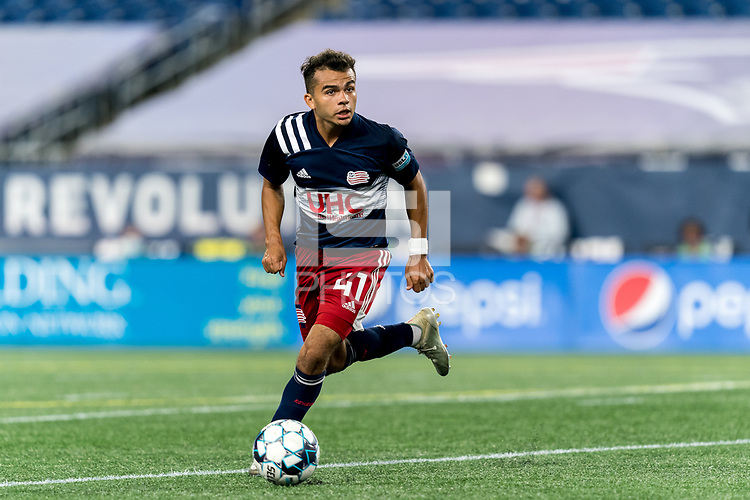 FOXBOROUGH, MA - SEPTEMBER 09: Colby Quinones #41 of New England Revolution II looks to pass during a game between Chattanooga Red Wolves SC and New England Revolution II at Gillette Stadium on September 09, 2020 in Foxborough, Massachusetts.