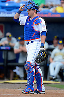 New York Mets catcher Kevin Plawecki #90 during an exhibition game against the Michigan Wolverines at Tradition Field on February 24, 2013 in St. Lucie, Florida.  New York defeated Michigan 5-2.  (Mike Janes/Four Seam Images)