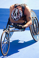 31 MAY 2014 - LONDON, GBR - Giovanni Achenza (ITA) of Italy recovers after finishing the 2014 ITU World Triathlon Series PT1 paratriathlon in Hyde Park in London, Great Britain (PHOTO COPYRIGHT © 2014 NIGEL FARROW, ALL RIGHTS RESERVED)