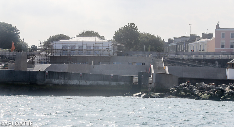 The Dun Laoghaire Baths refurbishment project as photographed from the sea side on September 5th 2022. Dun Laoghaire Rathdown Council has revised it completion date for the project from December  2021 to late Spring 2022.