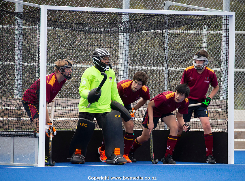 Kings College defend the goal  - during the Division A Boys Final, between Saint Kentigern College and Kings College, during Upper North Island Secondary School Hockey Championship, North Harbour Hockey, North Shore, Auckland . Friday 9 October 2020 Photo: Brett Phibbs / www.bwmedia.co.nz / Hockey New Zealand