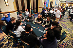 An overview of Peter Eastagate's table during level 7 on Day 1B