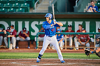 James Outman (47) of the Ogden Raptors bats during a game against the Idaho Falls Chukars at Lindquist Field on August 29, 2018 in Ogden, Utah. Idaho Falls defeated Ogden 15-6. (Stephen Smith/Four Seam Images)