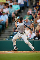 Trenton Thunder first baseman Gosuke Katoh (19) follows through on a swing during a game against the Richmond Flying Squirrels on May 11, 2018 at The Diamond in Richmond, Virginia.  Richmond defeated Trenton 6-1.  (Mike Janes/Four Seam Images)