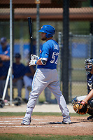 Toronto Blue Jays Bradley Jones (52) at bat during a minor league Spring Training game against the New York Yankees on March 30, 2017 at the Englebert Complex in Dunedin, Florida.  (Mike Janes/Four Seam Images)