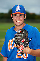 GCL Mets pitcher Andrew Church (20) poses for a photo after the first game of a double header against the GCL Cardinals on July 17, 2013 at Roger Dean Complex in Jupiter, Florida.  GCL Cardinals defeated the GCL Mets 6-5 in twelve innings.  (Mike Janes/Four Seam Images)