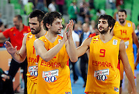 "Sergio Llull and Ricky Rubio of Spain celebrate after European basketball championship ""Eurobasket 2013""  basketball game for 3rd place between Spain and Croatia in Stozice Arena in Ljubljana, Slovenia, on September 22. 2013. (credit: Pedja Milosavljevic  / thepedja@gmail.com / +381641260959)"