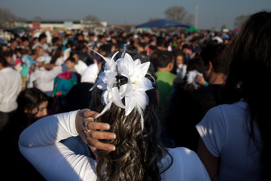 Several thousand Kalaidzhii met in Mogila, where young marriageable  girls dressed elaborately to attract the best young men, who by tradition pay between 5000 ($3500) and 40000 ($28,000) Bulgarian Lev for a bride. PHOTO BY JODI HILTON