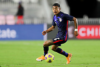 FORT LAUDERDALE, FL - DECEMBER 09: Julian Araujo #2 of the United States turns with the ball during a game between El Salvador and USMNT at Inter Miami CF Stadium on December 09, 2020 in Fort Lauderdale, Florida.