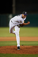 Lancaster JetHawks relief pitcher Salvador Justo (35) follows through on his delivery during a California League game against the Visalia Rawhide at The Hangar on May 17, 2018 in Lancaster, California. Lancaster defeated Visalia 11-9. (Zachary Lucy/Four Seam Images)