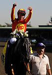 25 October 2008: Jockey Garret Gomez gives Midnight Lute all the credit after winning the Sentient Breeders Cup Sprint at Santa Anita Race Track in Arcadia, California.
