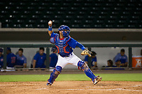 AZL Cubs catcher Richard Nunez (8) prepares to throw to second base between innings against the AZL Padres 2 on August 28, 2017 at Sloan Park in Mesa, Arizona. AZL Cubs defeated the AZL Padres 2 9-4. (Zachary Lucy/Four Seam Images)