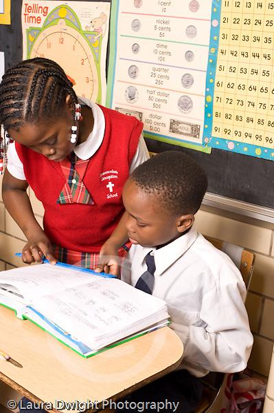 K-8 Parochial School Bronx New York Grade 3 mathematics lesson on measurement using rulers vertical
