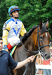 10 July 25: Perfect Shirl (no. 5), ridden by John Velazquez and trained by Roger Attfield, wins the 15th running of the grade 2 Lake George Stakes for three year old fillies at Saratoga Race Track in Saratoga Springs, New York.
