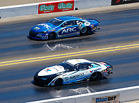 Jul 30, 2017; Sonoma, CA, USA; NHRA pro stock driver Tanner Gray (near) races alongside Alan Prusiensky during the Sonoma Nationals at Sonoma Raceway. Mandatory Credit: Mark J. Rebilas-USA TODAY Sports