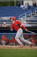 Williamsport Crosscutters third baseman Cole Stobbe (7) follows through on a swing during a game against the Batavia Muckdogs on August 3, 2017 at Dwyer Stadium in Batavia, New York.  Williamsport defeated Batavia 2-1.  (Mike Janes/Four Seam Images)
