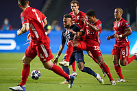 23rd August 2020, Estádio da Luz, Lison, Portugal; UEFA Champions League final, Paris St Germain versus Bayern Munich; Neymar (PSG) holds the ball away from Serge Gnabry, Leon Goretzka  and Thiago (Munich)