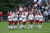 18 November 2007: Shari Summers, Kelley O'Hara, Christen Press, Lizzy George, Kristin Stannard, April Wall, Allison Falk, Rachel Buehler, and Alicia Jenkins during Stanford's 1-1 double overtime shootout win over California in the second round of the NCAA Division 1 Women's Soccer Championships at Laird Q. Cagan Stadium in Stanford, CA.