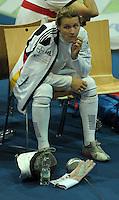 European Championships Fencing 2010 / Fecht Europameisterschaft 2010 in Leipzig - Competition Championat d'europe - im Bild: Olympiasiegerin Britta Heidemann (GER) unzufrieden - unsatisfied. Foto: Norman Rembarz..Norman Rembarz , Autorennummer 41043728 , Augustenstr. 2, 04317 Leipzig, Tel.: 01794887569, Hypovereinsbank: BLZ: 86020086, KN: 357889472, St.Nr.: 231/261/06432 - Jegliche kommerzielle Nutzung ist honorar- und mehrwertsteuerpflichtig! Persönlichkeitsrechte sind zu wahren. Es wird keine Haftung übernommen bei Verletzung von Rechten Dritter. Autoren-Nennung gem. §13 UrhGes. wird verlangt. Weitergabe an Dritte nur nach  vorheriger Absprache..