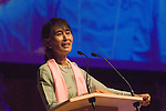 Aung San Suu Kyi. Meeting with the people of Burma at the Royal Festival Hall London UK 22 June 2012.