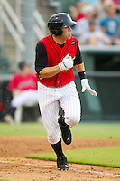 Nicholas Ciolli #20 of the Kannapolis Intimidators hustles down the first base line against the Greensboro Grasshoppers at Fieldcrest Cannon Stadium August 2, 2010, in Kannapolis, North Carolina.  Photo by Brian Westerholt / Four Seam Images
