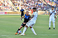 STANFORD, CA - JUNE 29: Magnus Eriksson #7, Diego Polenta #3 during a Major League Soccer (MLS) match between the San Jose Earthquakes and the LA Galaxy on June 29, 2019 at Stanford Stadium in Stanford, California.