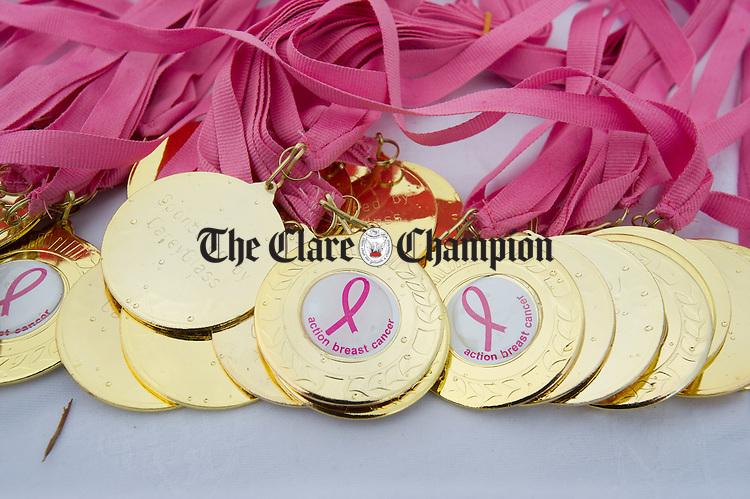 Nice mementos of the day await participants at the finish line during the Killaloe Pink Ribbon walk. Photograph by John Kelly.