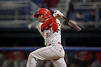 Auburn Doubledays catcher Jeyner Baez (13) hits a double during a game against the Batavia Muckdogs on September 6, 2017 at Dwyer Stadium in Batavia, New York.  Auburn defeated Batavia 6-3.  (Mike Janes/Four Seam Images)