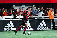 ATLANTA, GA - MARCH 07: ATLANTA, GA - MARCH 07: Atlanta United defender Fernando Meza dribbles the ball during the match against FC Cincinnati, which Atlanta won, 2-1, in front of a crowd of 69,301 at Mercedes-Benz Stadium during a game between FC Cincinnati and Atlanta United FC at Mercedes-Benz Stadium on March 07, 2020 in Atlanta, Georgia.